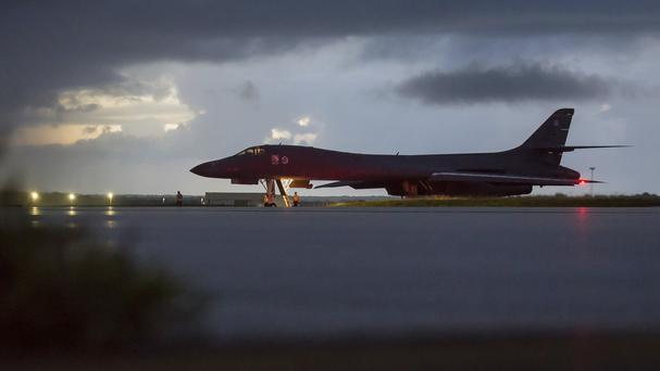 A US Air Force B-1B Lancer prepares to take off for a mission in international airspace over the waters east of North Korea (Staff Sgt Joshua Smoot/US Air Force/AP)
