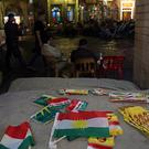 Kurdish flags and pro-independence items on sale in Irbil