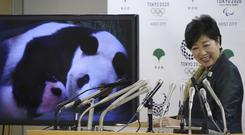 A screen shows an image of Japan's female baby giant panda held by her mother as Tokyo governor Yuriko Koike announces the cub's name (AP/Koji Sasahara)