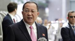 North Korea's foreign minister Ri Yong Ho speaks outside the UN Plaza Hotel in New York (AP)