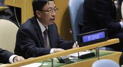 UN ambassador Hau Do Suan of Burma exercises his right of reply in the United Nations General Assembly, at UN headquarters (AP)