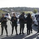Israeli police block the road to Har Adar settlement (AP/Mahmoud Illean)