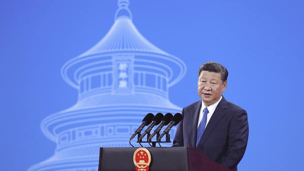 Chinese President Xi Jinping speaks during the 86th Interpol General Assembly in Beijing (Lintao Zhang/Pool Photo via AP)