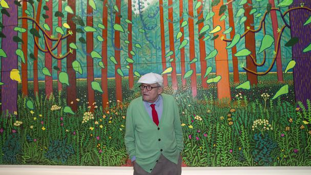 David Hockney with the painting he is donating to the Pompidou Centre in Paris (AP)