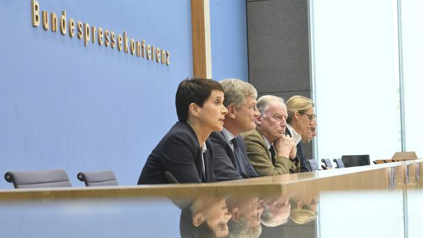 Frauke Petry (closest to camera) with other leading Alternative for Germany members (AP)