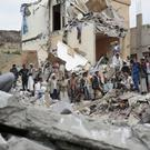 File photo of the rubble of houses destroyed by Saudi-led airstrikes in Sanaa, Yemen (AP)