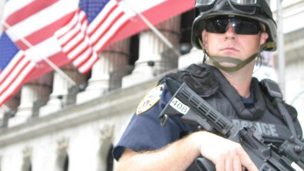 A US officer shot at an actor playing the part of a bank robber