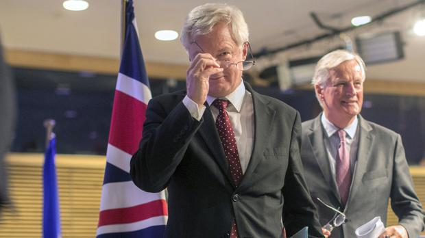 David Davis (left) and Michel Barnier