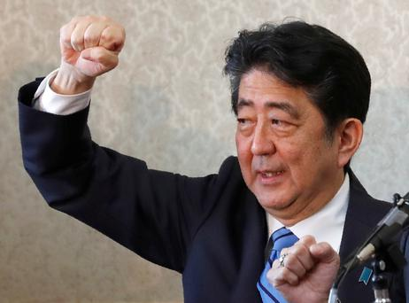 Japanese Prime Minister Shinzo Abe told voters only he could protect them from the threat of North Korean missiles. Photo: Kim Kyung Hoon/Reuters