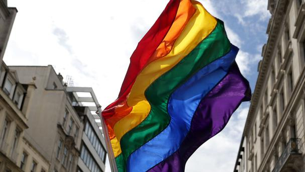The rainbow flag at an event in London