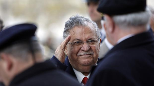 Former Iraqi president Jalal Talabani, who has died aged 83 (AP Photo/Christophe Ena, Pool)