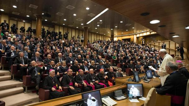Pope Francis attends a meeting with members of the Pontifical Academy for Life, at the Vatican (AP)
