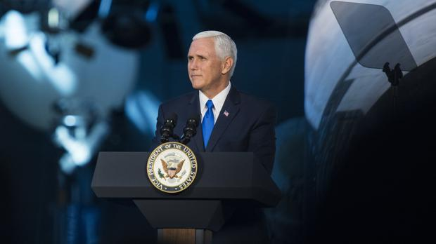 US vice president Mike Pence delivers opening remarks during the National Space Council's first meeting (AP)