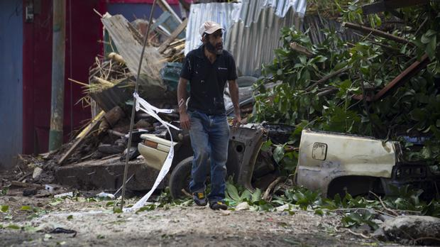 Damage left by Nate on the outskirts of San Jose, Costa Rica (AP)