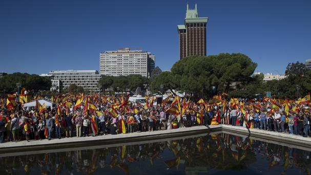 Pro-unity supporters pack Plaza de Colon in Madrid (AP)
