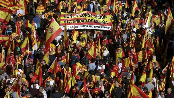 Demonstrators protest against the Catalan government's push for secession (AP Photo/Manu Fernandez)