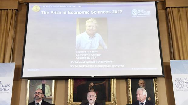 Richard Thaler, of the University of Chicago, is announced as the the 2017 Nobel Economics Prize winner (AP)