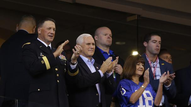 Vice President Mike Pence applauds before the NFL football game between the Indianapolis Colts and the San Francisco 49ers (AP)