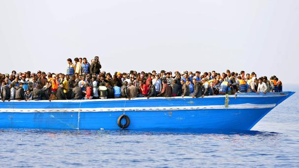 File picture of migrants on the Mediterranean Sea