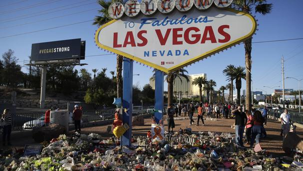 A makeshift memorial for victims of the mass shooting in Las Vegas (AP)