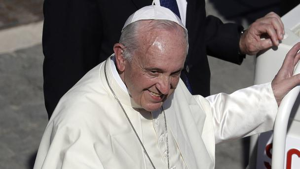 Pope Francis at the end of the canonisation mass in St Peter's Square at the Vatican (AP)