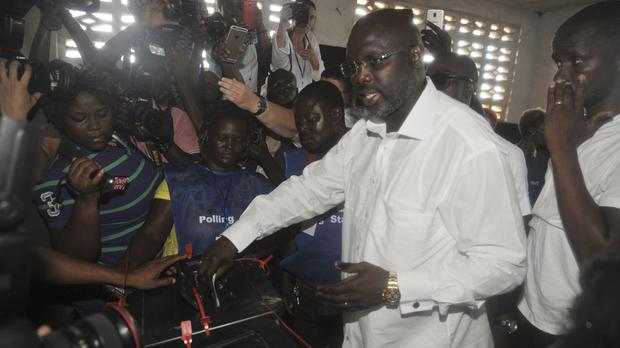 Former footballer George Weah is the frontrunner