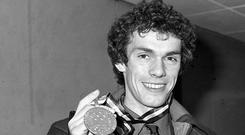 British figure skater John Curry with his Olympic gold medal won in Innsbruck in 1976