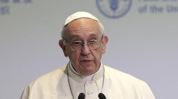 Pope Francis making a speech on World Food Day