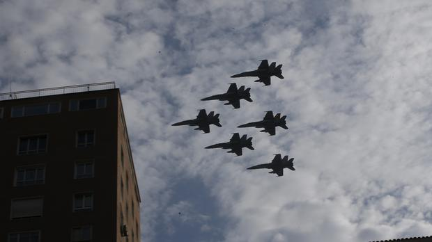 Military jets during a fly past on Spain's national day (AP)