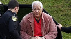 File photo of former Penn State University assistant American football coach Jerry Sandusky arriving for an appeal hearing (AP)