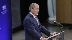 George W. Bush making a speech in New York (AP)