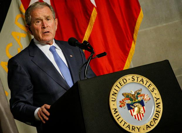Former U.S. President George W. Bush speaks after being honored with the Sylvanus Thayer Award at the United States Military Academy in West Point, New York,