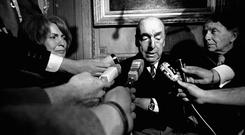 Pablo Neruda, poet and then Chilean ambassador to France, talking with reporters in Paris after being named the 1971 Nobel Prize for Literature (AP)
