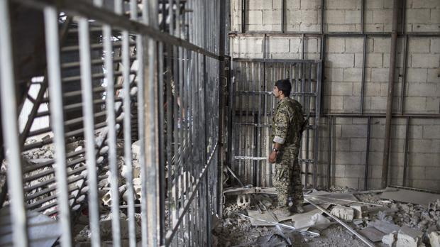 The ruins of an Islamic State-built prison in the city of Raqqa (AP)