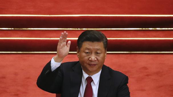 Chinese president Xi Jinping during the closing ceremony for the 19th Party Congress held at the Great Hall of the People in Beijing (AP)