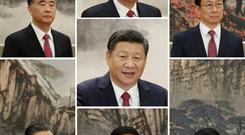 China's new Politburo Standing Committee members Xi Jinping (centre), Wang Yang (top left), Li Keqiang (top centre), Han Zheng (top right), Zhao Leji (bottom left), Li Zhanshu (bottom centre) and Wang Huning at the Great Hall of the People in Beijing yesterday. Photo: Jason Lee/Reuters