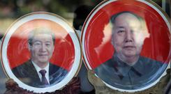 A souvenir plate with the image of chairman Mao Zedong on sale in Beijing yesterday. Photo: Reuters