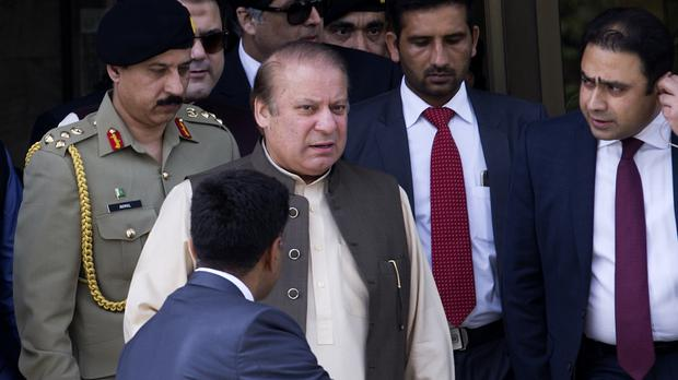 Nawaz Sharif leaving the office of the Joint Investigation Team in Islamabad in June (AP)