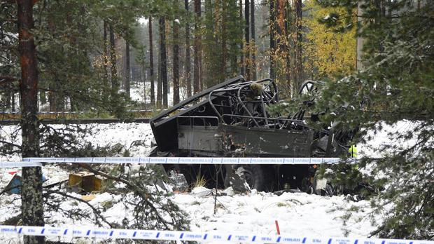 The wreckage of a military truck by the side of the tracks in southern Finland (Lehtikuva/AP)