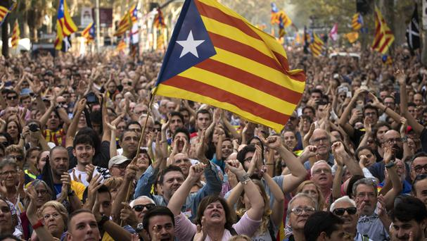 Catalans gathered in Barcelona celebrate the unilateral declaration of independence (AP)