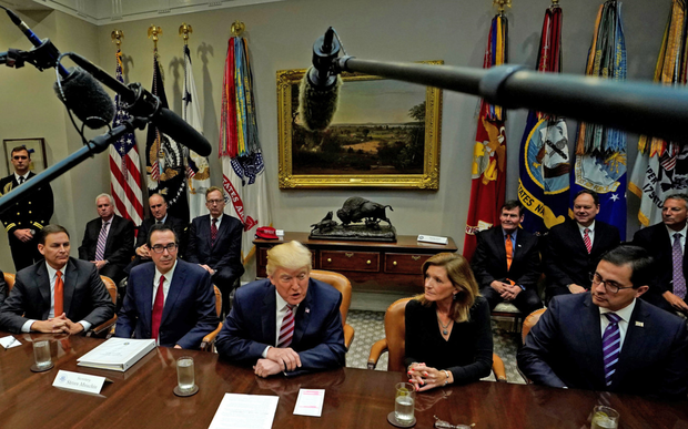 US President Donald Trump hosts a tax reform industry meeting at the White House yesterday. Photo: Reuters/Kevin Lamarque