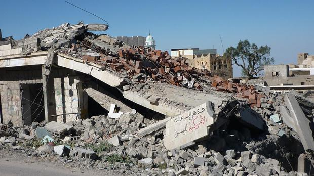 Stock picture of a destroyed house in Yemen