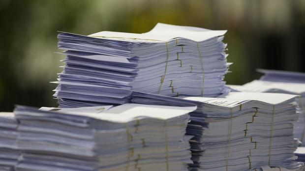 Stock picture of ballot papers