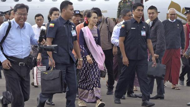 Aung San Suu Kyi arrives in Sittwe, Rakhine state, on her first visit as Burma's leader to the conflict-torn region (AP)