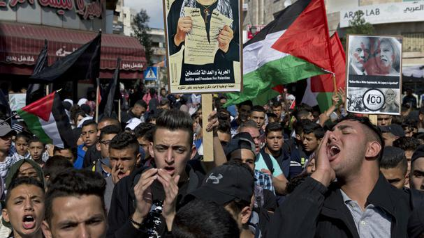 Palestinian protesters on the 100th anniversary of the Balfour Declaration, in Ramallah (AP/Nasser Nasser)