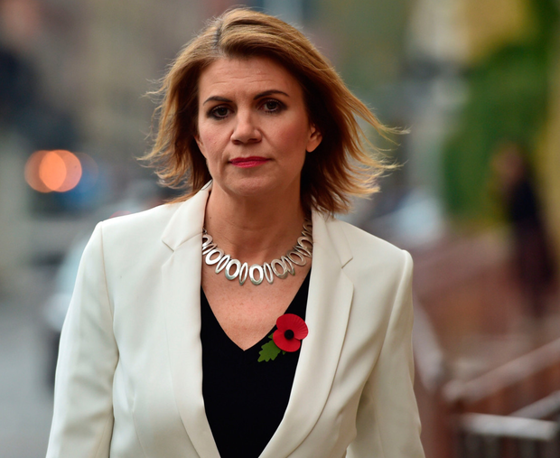 Julia Hartley-Brewer leaves talkRADIO Studios in London, following Sir Michael Fallon's resignation amid sleaze allegations. Photo: PA