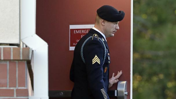 Bowe Bergdahl leaves the Fort Bragg courtroom facility in North Carolina (AP)