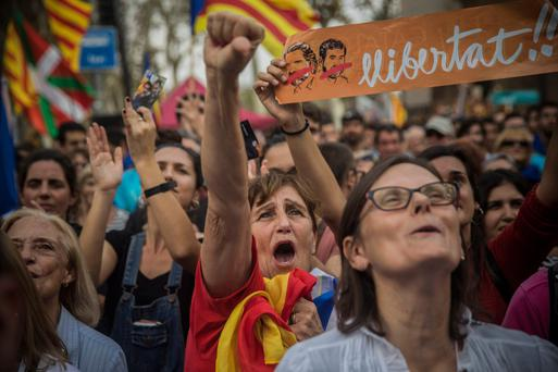 Independence supporters in Catalonia. Photo: AP