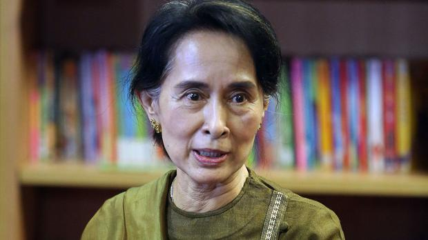 Aung San Suu Kyi during a visit to Belfast