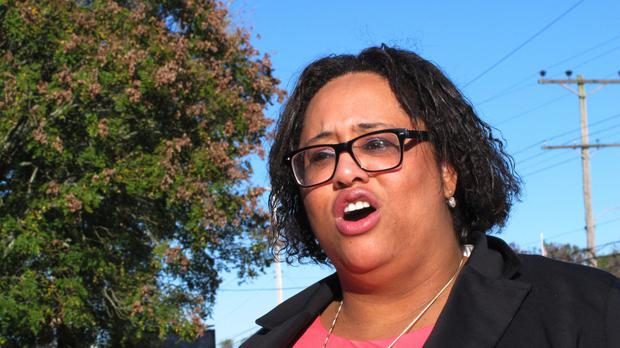 Ashley Bennett, a Democratic candidate for freeholder in Atlantic County, New Jersey, defeated incumbent Republican John Carman in the election on Tuesday (AP)
